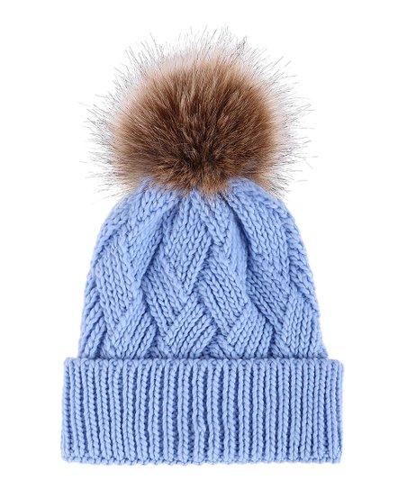 2b01d69bb3 love this product Lt. Blue Diamond-Knit Faux Fur Pom-Pom Beanie - Women