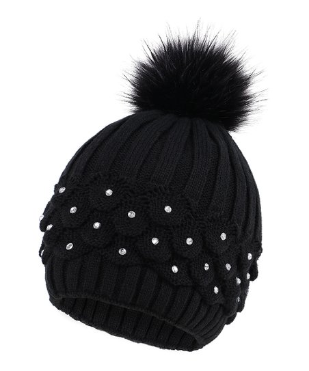 5938bdb8962 love this product Black Scale-Knit Sequin   Pom-Pom Beanie
