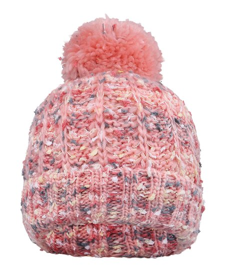 ARCTIC PAW Pink Marled Slouch Cable-Knit Pom-Pom Beanie  a365ec597c