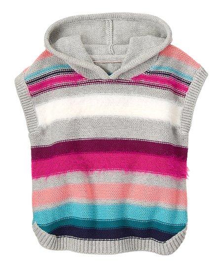 Gymboree Gray & Pink Stripe Hooded Poncho - Infant, Toddler & Girls