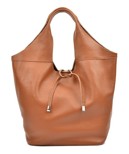 edee5d07c3 Luisa Vannini Cognac Scoop-Top Leather Hobo