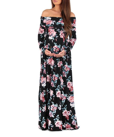 41d7379bc5402 Mother Bee Maternity Black Floral Maternity Off-Shoulder Dress | Zulily