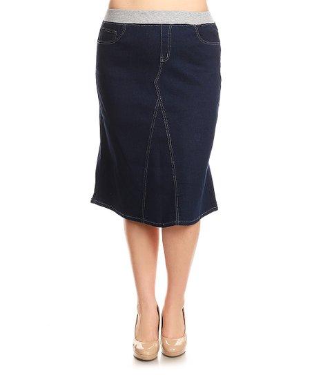 3c869b581 be-girl Dark Indigo Ribbed-Waistband Calf-Length Denim Skirt   Zulily