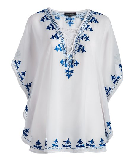 38dc6a188f SPIAGGIA DOLCE White & Blue Embroidered Cover-Up Cover-Up - Plus ...