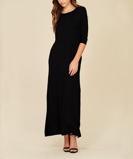 270e54bd97a91 Annabelle USA Black Three-Quarter Sleeve Maxi Dress - Women