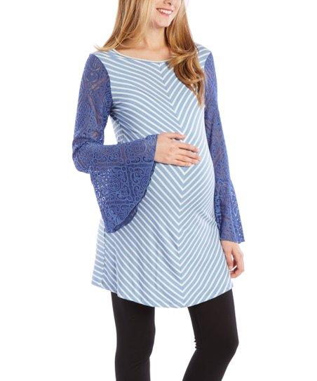 3e09fced8d616 Anticipation Chambray & Ivory Chevron Bell-Sleeve Maternity Tunic ...