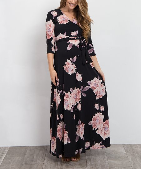d76a47aa6de PinkBlush Maternity Black   Peach Floral Maternity Maxi Dress