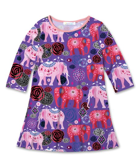 b0df6e4f5bfb love this product Purple   Pink Floral Elephant Shift Dress