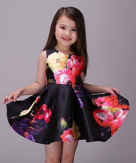 7b9885ec84ac7 Maggie Peggy Black & Pink Floral Swing Dress - Girls | Zulily