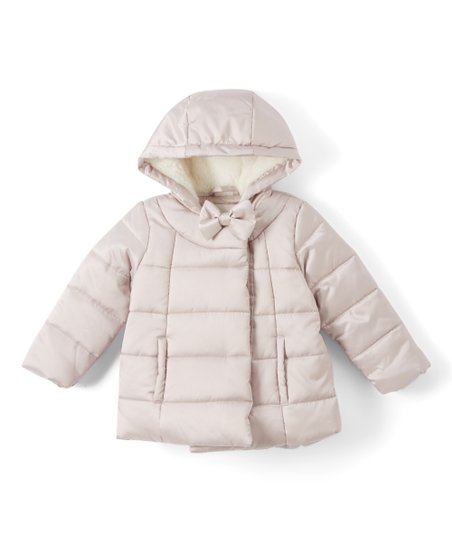bd9de5627427 Jessica Simpson Collection Silver Bow Hooded Puffer Coat - Infant ...
