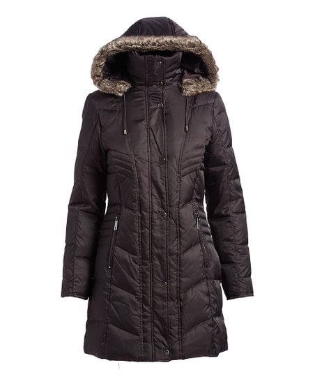 c838a8a1b3c9 Kenneth Cole Coal Chevron-Quilted Faux-Fur Trim Hooded Down Puffer ...