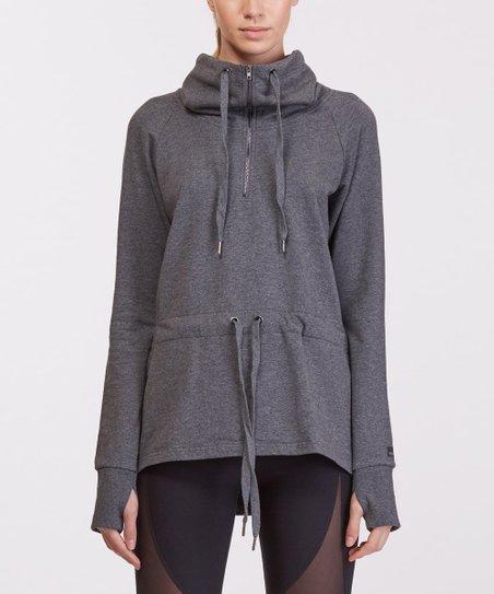 Dark Gray Back-Cutout Neck Pullover - Women