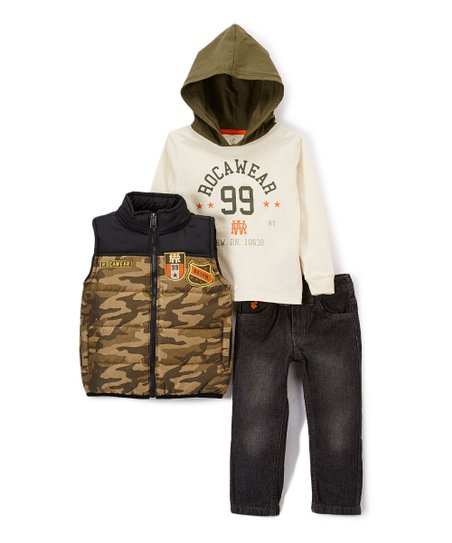 Olive Camo Vest Rocawear 99 Hoodie Straight Leg Jeans
