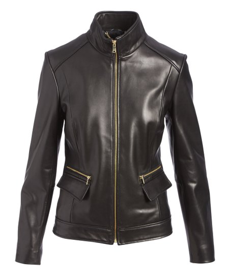 Cole Haan Black Leather Jacket Women Zulily