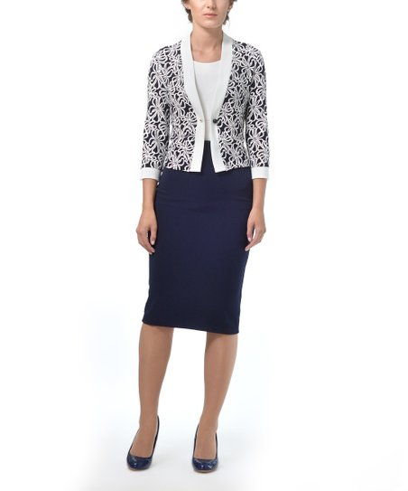 3220e1300d409 Lila Kass Navy & White Floral Blazer & Pencil Skirt | Zulily