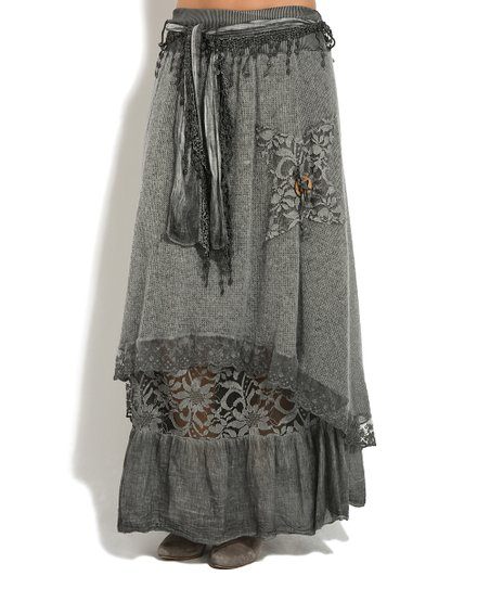 05924d706b La Fille du Couturier Gray Lace Double-Layer Maxi Skirt - Women ...