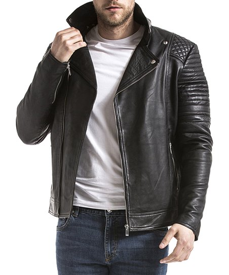3e5c4cca48a3 Blue Wellford Black Quilted Asymmetrical Zip Leather Jacket - Men ...