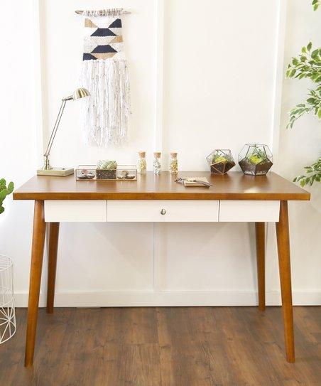 Miraculous Walker Edison Brown White Single Drawer Desk Interior Design Ideas Skatsoteloinfo