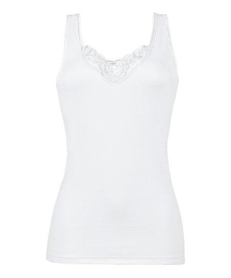 9e480a8d64b Eva White Floral Embroidered Cotton Camisole - Women & Plus