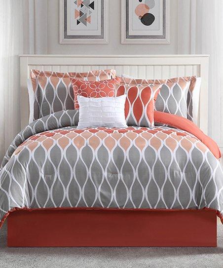 Studio 17 Coral & Gray Clarisse Seven Piece Comforter Set | Best
