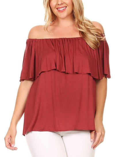 83487d9bef5c45 love this product Red Ruffle Off-Shoulder Top - Plus