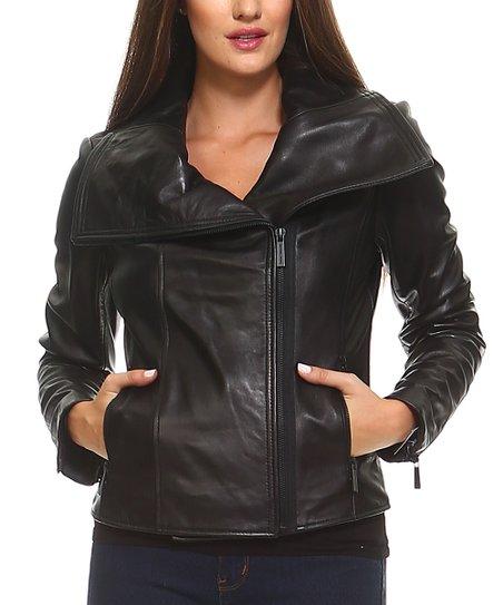 fdf1245d2 Michael Kors Black Asymmetrical Leather Moto Jacket