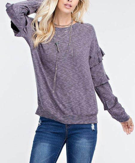 4f2b5bfb466028 love this product Lavender Ruffle-Sleeve Slub-Knit Top - Women