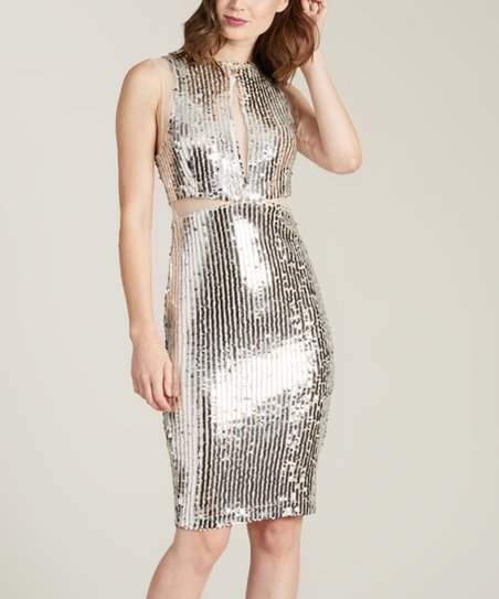 eafba8bb6a love this product Silver Sequin Cutout Dress - Women