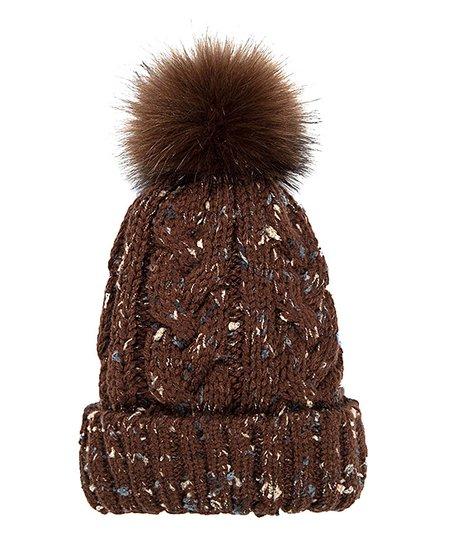 love this product Chocolate Fleece-Lined Olivia Pom-Pom Beanie - Women 43b1375df5c