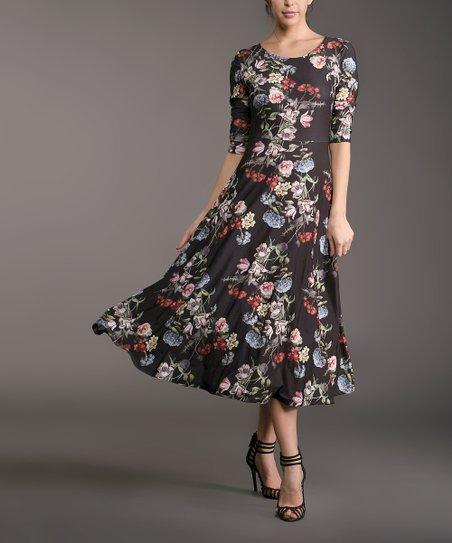 e6b5cf72510d Lbisse Black & Blue Floral Midi Dress - Plus   Zulily