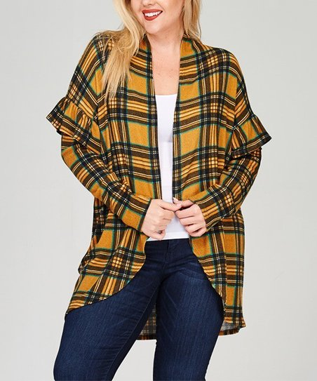 28e26f490a love this product Mustard Plaid Ruffle-Sleeve Open Cardigan - Plus