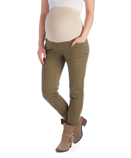 147d8643e2207 love this product Olive Five-Pocket Over-Belly Maternity Ponte Pants