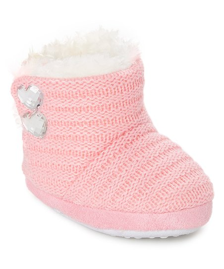 91229c949115 Chatties Light Pink   White Heart-Accent Slipper Boot