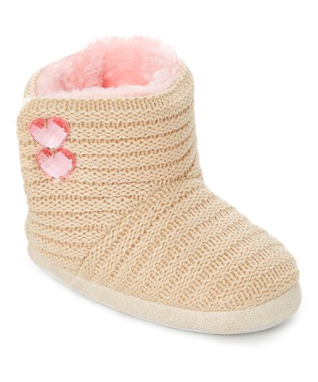 6185806df2b7 love this product Tan   Light Pink Heart-Accent Slipper Boot