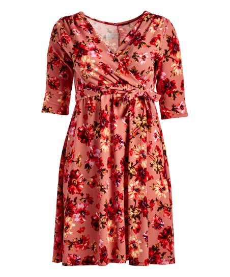 2dbc428980 VKY   CO Pink   Red Floral Wrap Dress - Women   Plus