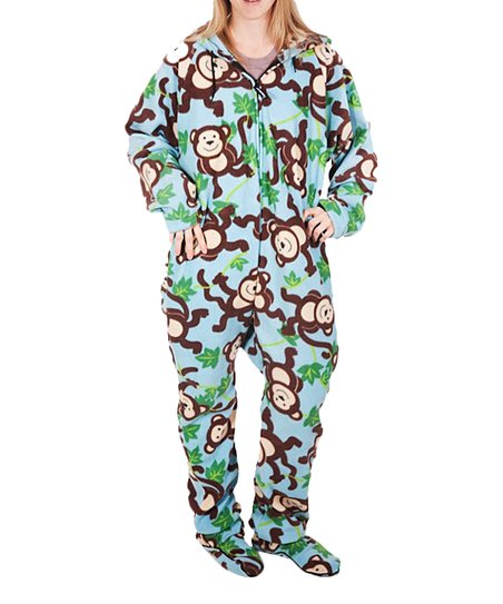 20d691832c1b Forever Lazy Green Monkey Hooded Footie Pajamas - Adult