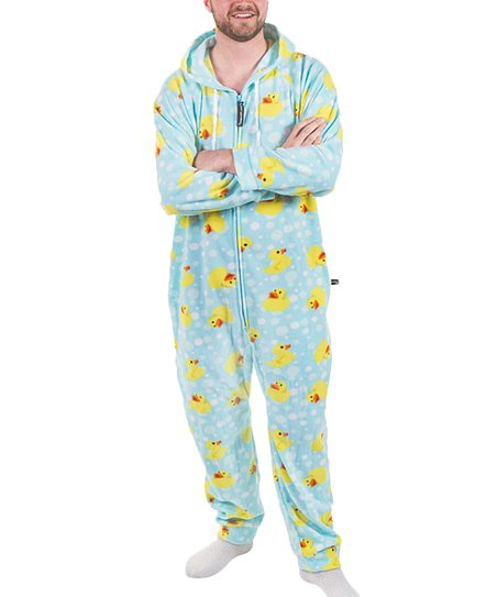 04dcdb814 Forever Lazy Blue Duckie Hooded One-Piece Pajama - Adult