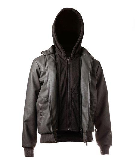 c10d9b4de54f0 Black-Out Brown Fleece-Hood Faux Leather Moto Jacket - Boys | Zulily