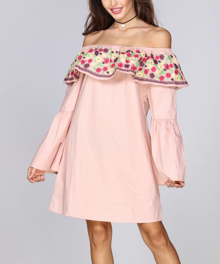 4945cb83e00a love this product Pink Floral-Ruffle Off-Shoulder Dress - Plus
