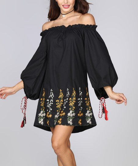 cf8a2af91c57 love this product Black Floral Off-Shoulder Shift Dress - Women   Plus