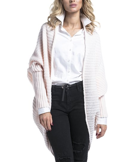 a31452d807894 love this product Pink Powder Ribbed Cocoon Mohair-Blend Open Cardigan -  Women