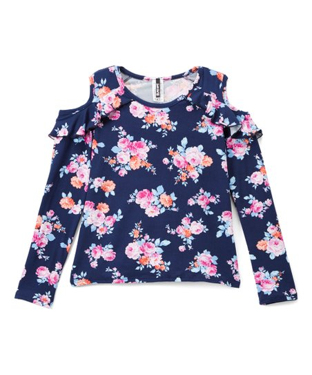 326b46e434e802 love this product Navy   Red Floral Cold-Shoulder Top