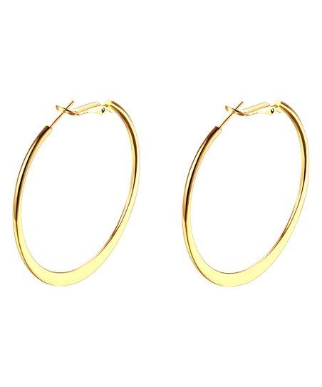 18k Gold Plated Tapered Hoop Earrings