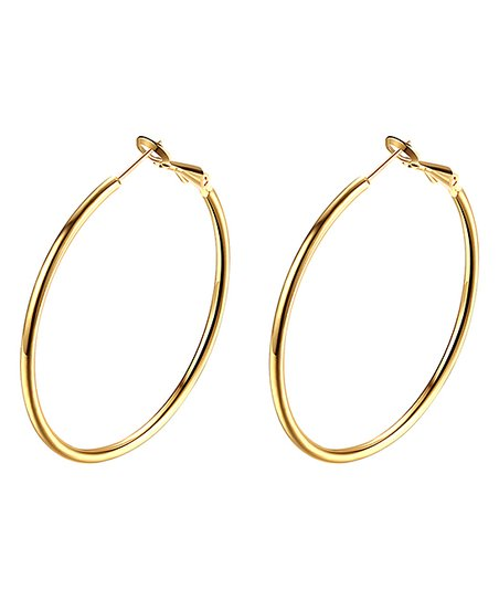 18k Gold Plated Smooth Round Hoop Earrings
