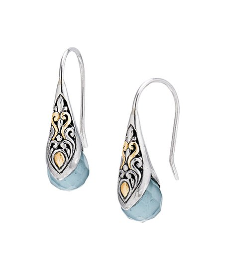 ffdb7933a7d9d Greg Anthony Bali® Briolette Aquamarine & Gold Filigree Drop Earrings