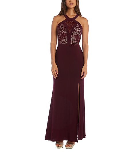 Nightway Wine Nude Lace Bodice Halter Gown Women Zulily