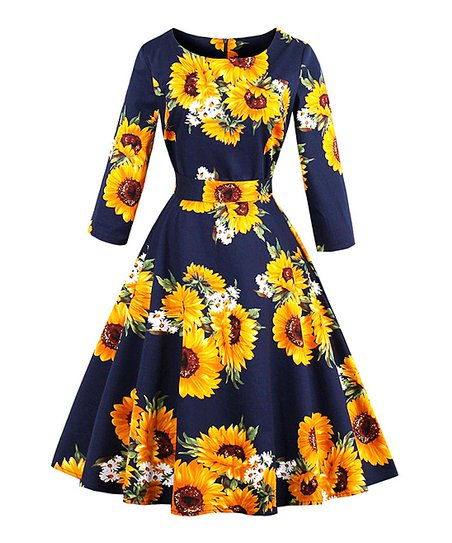 4f4ffdcd1 love this product Navy Sunflower Fit & Flare Dress - Women