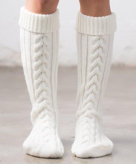 83e2685e89c Ailis Corner Ivory Cable-Knit Knee-High Socks