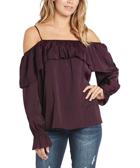 1ebc20cfb3bdb love this product Plum Ruffle Cold-Shoulder Top - Women