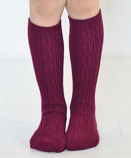 4a986376bd4 Kabootsocks Burgundy Ava Knee High Socks Kids Zulily